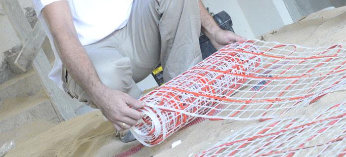 פריסת רשתות לחימום תת רצפתי חשמלי